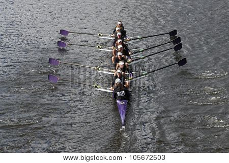 BOSTON - OCTOBER 18 2015: Mount Saint Joseph races in the Head of Charles Regatta Women's Youth Eights
