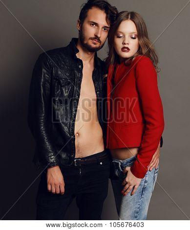 Fashion Studio Photo Of Beautiful Sexy Couple