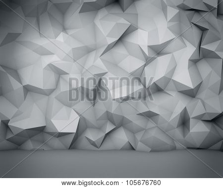 Abstract white polygon wall background.
