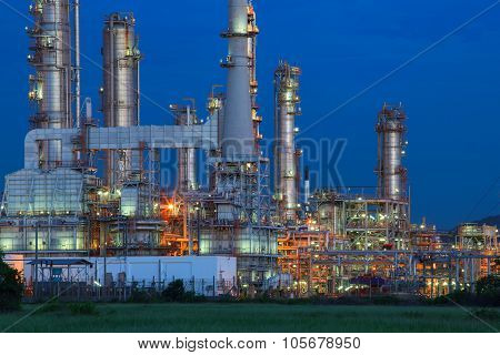 Beautiful Lighting Of Oil Refinery Palnt Against Dusky Blue Sky Of Oil Refinery Plant In Heavy Petro