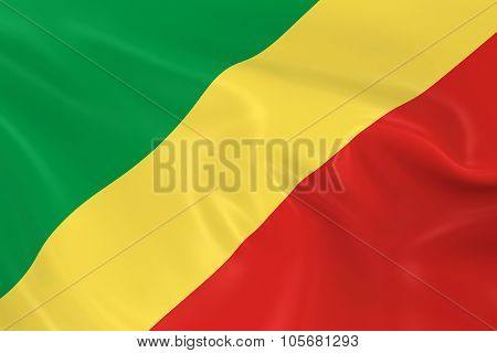 Waving Flag Of The Republic Of The Congo - 3D Render Of The Congolese Flag With Silky Texture