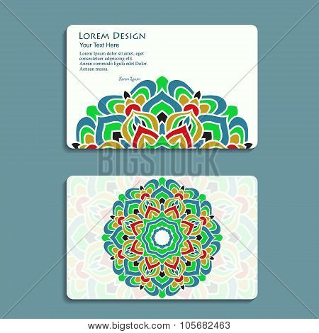 multicolored set of business cards with hand drawn tribal ornament