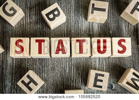 Wooden Blocks with the text: Status