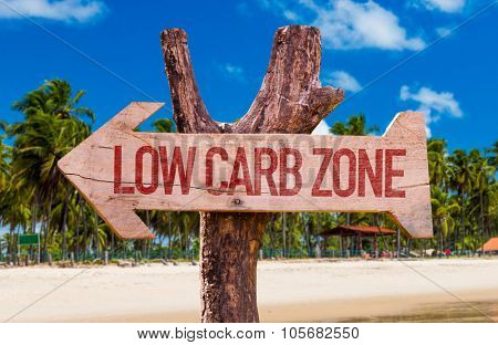 Low Carb Zone arrow with beach background