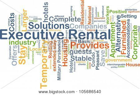 Background concept wordcloud illustration of executive rental