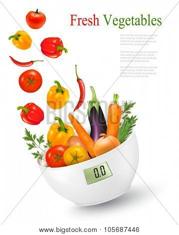 Fresh vegetables with in a weight scale. Diet concept. Vector.