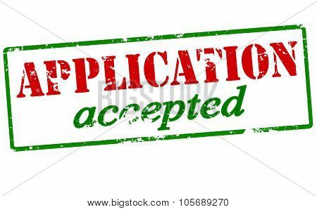 Rubber stamp with text application accepted inside vector illustration poster