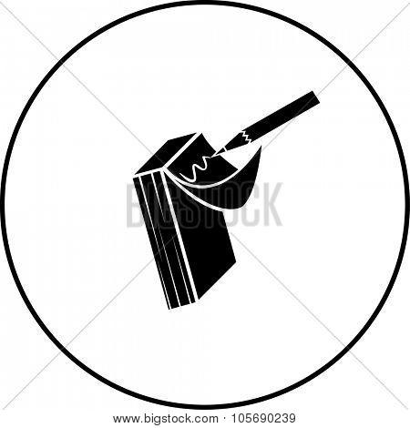 memo pad and pencil symbol