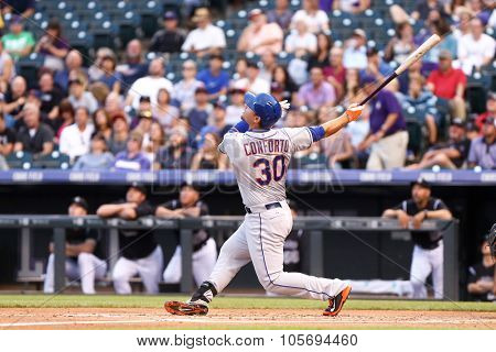 DENVER-AUG 21: New York Mets outfielder Michael Conforto waits for a pitch during a game against the Colorado Rockies at Coors Field on August 21, 2015 in Denver, Colorado.