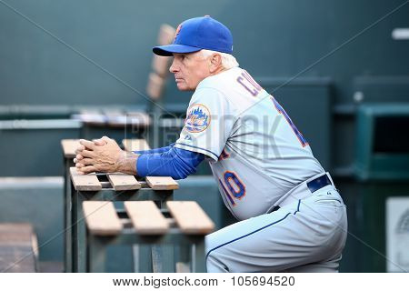 DENVER-AUG 21: New York Mets manager Terry Collins in the dugout before a game against the Colorado Rockies at Coors Field on August 21, 2015 in Denver, Colorado.