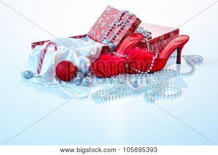 Sexy christmas present, high heel slippers and silk nightwear.