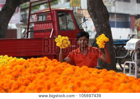 Pune, India - October 21, 2015: Flowers Display