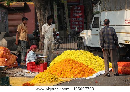 Pune, India - October 21, 2015: Festive Flower Shop
