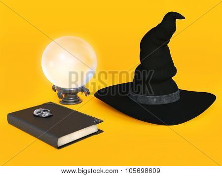 Witch Hat, Spell Book And Crystal Ball.
