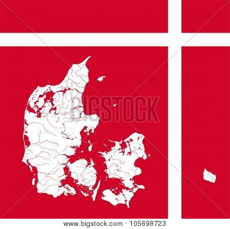 Very detailed outline map of Denmark in colors of the Danish flag. Colors of flag are proper. Rivers and lakes are shown. poster