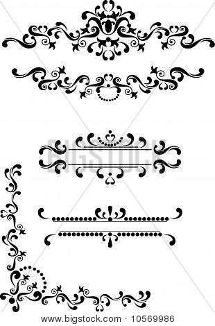 Black ornament corner,border,frame  on a white background. Graphic arts. poster