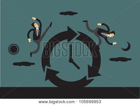 Businessmen Running Round The Clock