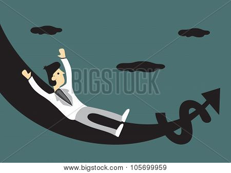 Rich Man On Money Slide Vector Cartoon Illustration