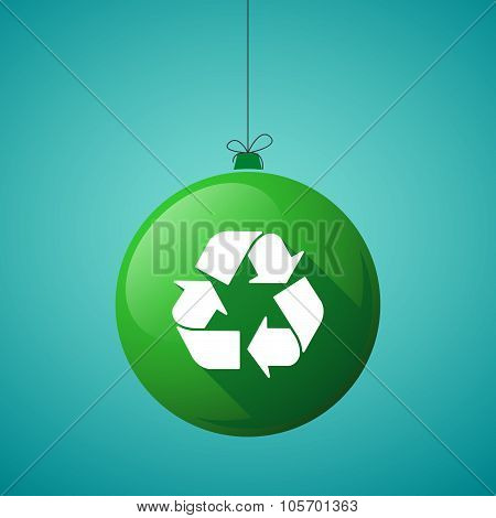 Long Shadow Christmas Ball Icon With A Recycle Sign