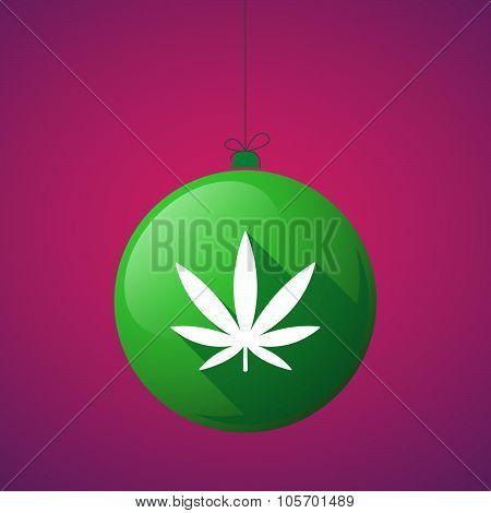 Long Shadow Christmas Ball Icon With A Marijuana Leaf