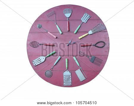 Concept Of Rec Kitchen Wall Clock Isolated Over White