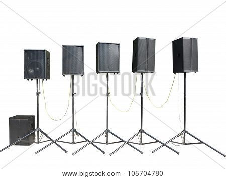 Old Powerful Stage Concerto Industrial Audio Speakers Isolated On White Background