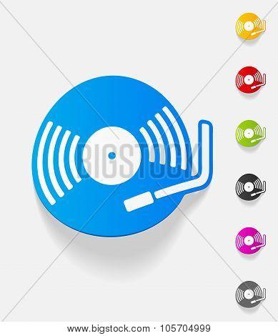 realistic design element. turntable