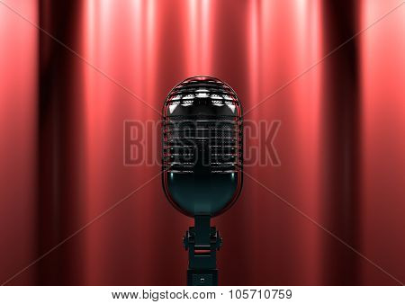 Vintage microphone on stage with red curtains. Moody stage lighting creates drama and suspense. poster