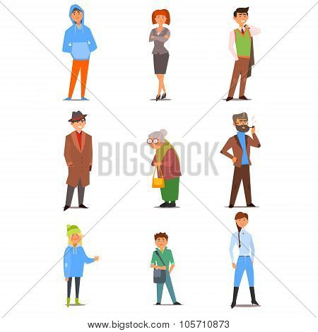 People of Different Lifestyle, Age and Profession. Vector Flat Illustration Set