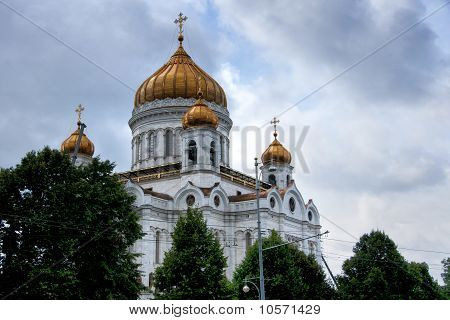 Domes of Saint Salvator Cathedral in Moscow.