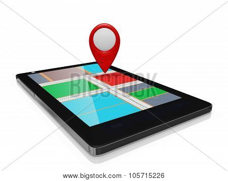 Gps Map Marker On A Smart Phone Mobile