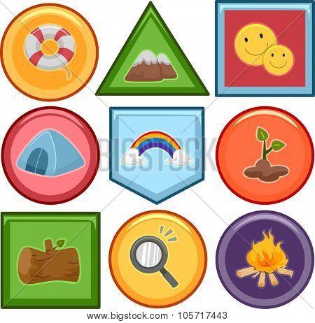 Illustration of a Set of Different Merit Badges