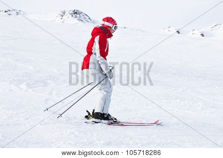 Female Skier At Ski Resort Solden
