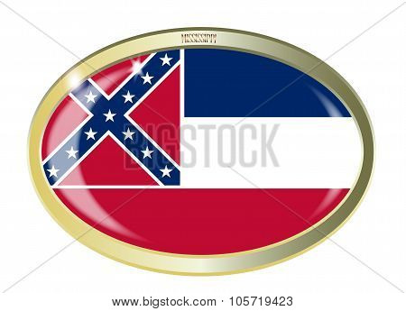 Oval metal button with the Mississippi flag isolated on a white background poster