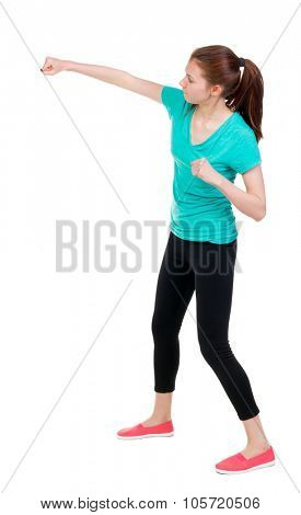skinny woman funny fights waving his arms and legs. Rear view people collection.  backside view of person.  Isolated over white background. Sportswoman in tights gets left hand.