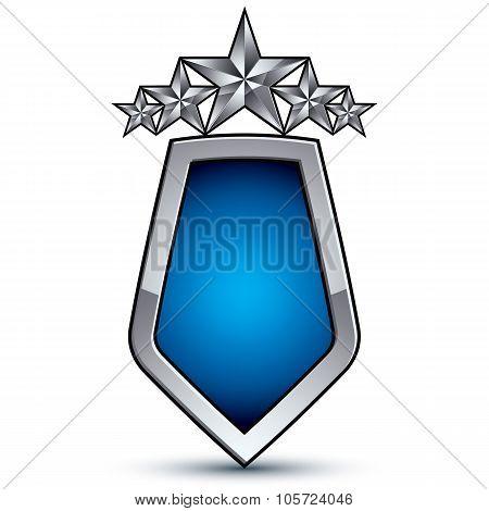 Majestic Blue Vector Emblem With Five Silver Decorative Pentagonal Stars, 3D Royal Conceptual Design