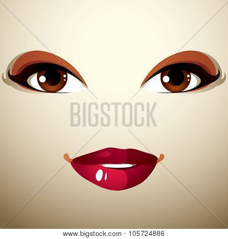 Coquette Glad Woman Eyes And Lips, Stylish Makeup. People Positive Facial Emotions, Happiness.