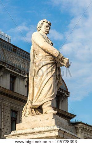 Statue Of George Lazar In Bucharest