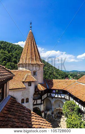 Bran castle in inner yard in a summer day in Transylvania Romania poster