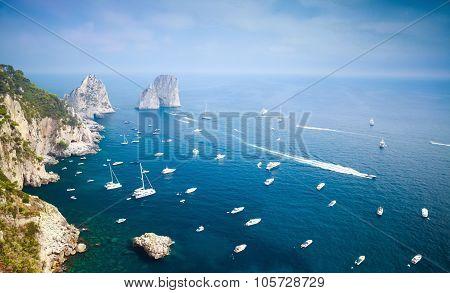 Capri Island, Italy. Mediterranean Sea, Yachts