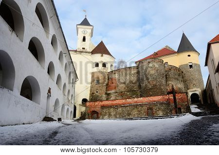 Walls And Towers Of Medieval Castle Palanok Located In City Of Mukachevo ,western Ukraine
