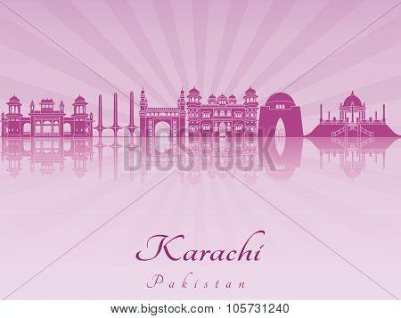 Karachi Skyline In Purple Radiant Orchid