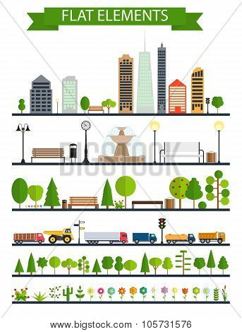 Flat City, Park, Forest, Road Elements