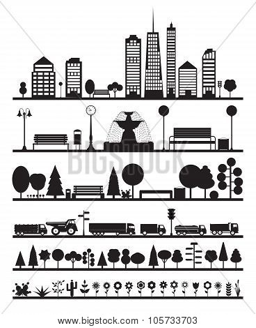 Silhouette City, Park, Forest, Road  Elements