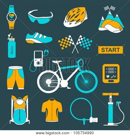 Vector Set Of Icons About Cycling On A White Background
