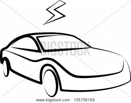 Modern Electric Car Silhouette. Electric Car  Illustration