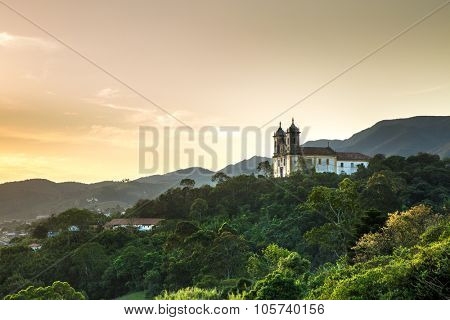 Sunset at Church San Francisco de Paula in Ouro Preto, Minas Gerais, Brazil