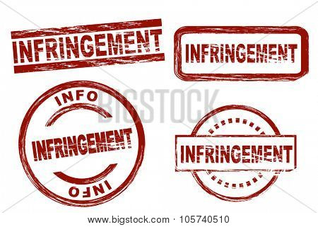Set of stylized red stamps showing the term infringement. All on white background.