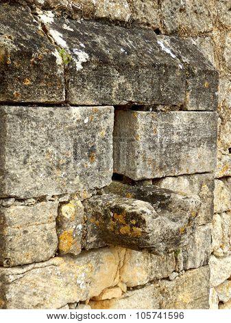 Arrow slit in medieval wall