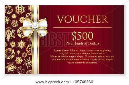 Luxury Red Christmas Voucher With Golden Snowflakes And White Ribbon